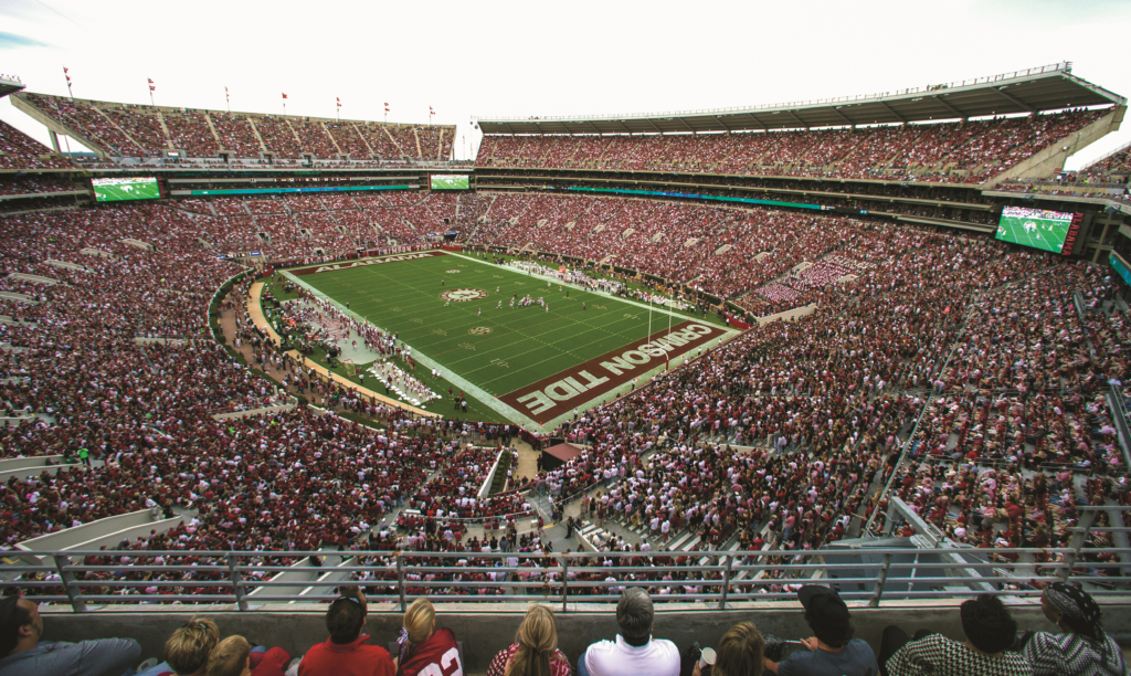An image of Bryant-Denny Stadium in Tuscaloosa, Alabama.