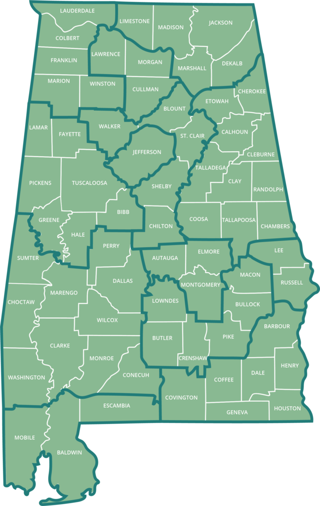 A map showing the coverage area for each of Alabama's 13 Area Agencies on Aging (plus the Regional Planning Commission of Greater Birmingham). Visit alabamaselect.com to learn more about the regional organization in your area.