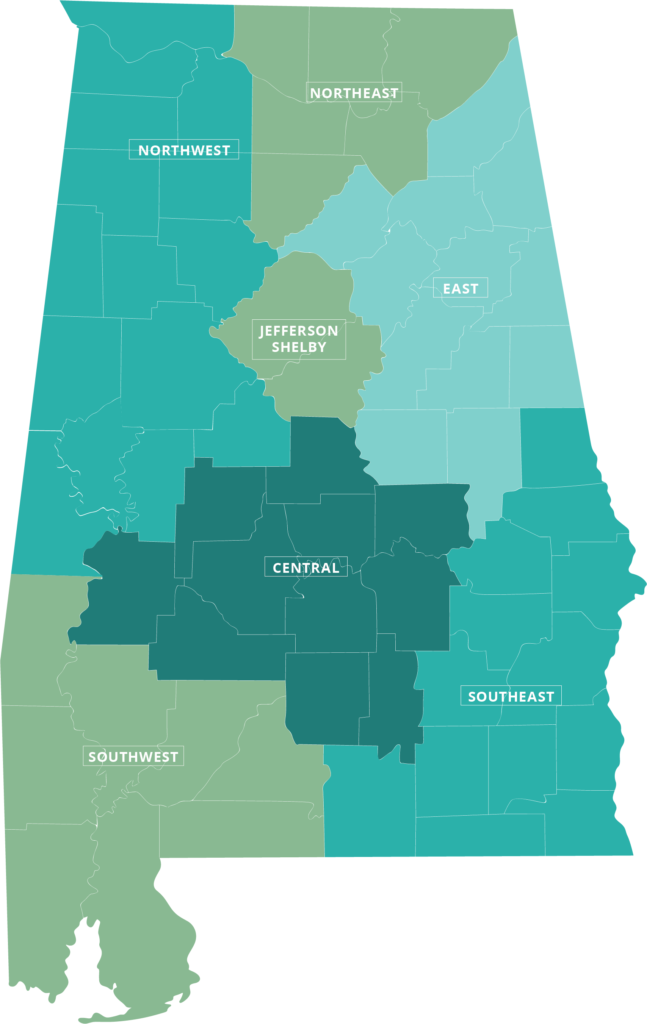 A map of Alabama showing the coverage areas of the seven regional networks that provide primary coordination for ACHN members: Northwest, Northeast, East, Jefferson-Shelby, Central, Southwest and Southeast.