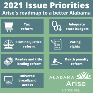 Graphic naming Alabama Arise's 2021 issue priorities