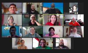 Alabama Arise staff meeting remotely via Zoom in summer 2020
