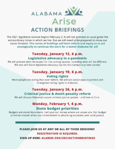 Alabama Arise action briefings flyer