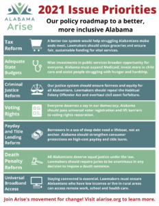 Flyer on Alabama Arise's 2021 issue priorities. For more information, visit https://www.alarise.org/news-releases/alabama-arise-unveils-members-2021-roadmap-for-change.