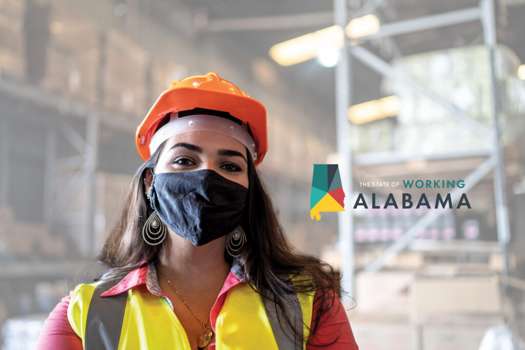 State of Working Alabama logo next to a portrait of a young woman wearing a face mask and protective workwear in a warehouse