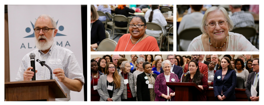 Photos of Alabama Arise members speaking out for Medicaid expansion at our annual meeting and Legislative Day.