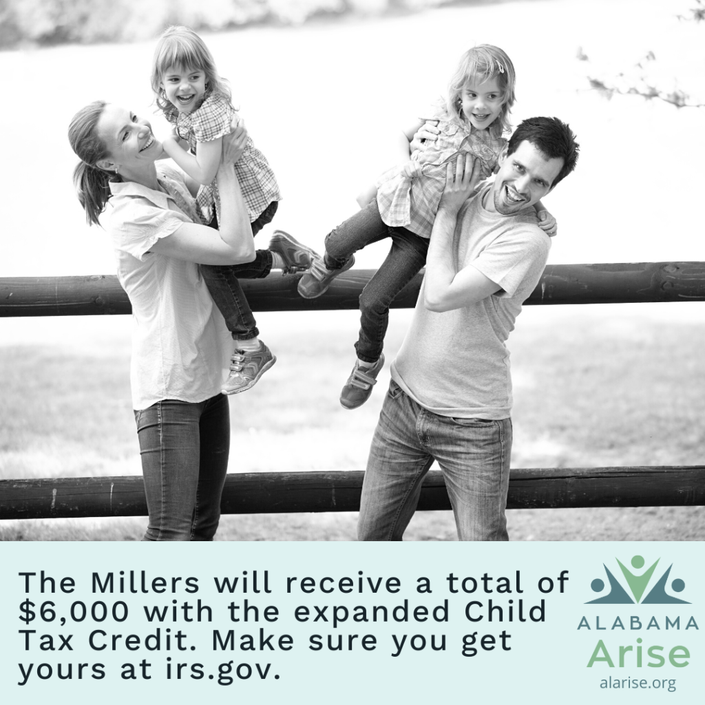 Image: Parents holding their smiling children while standing next to a fence. Text: The Millers will receive a total of $6,000 with the expanded Child Tax Credit. Make sure you get yours at irs.gov.