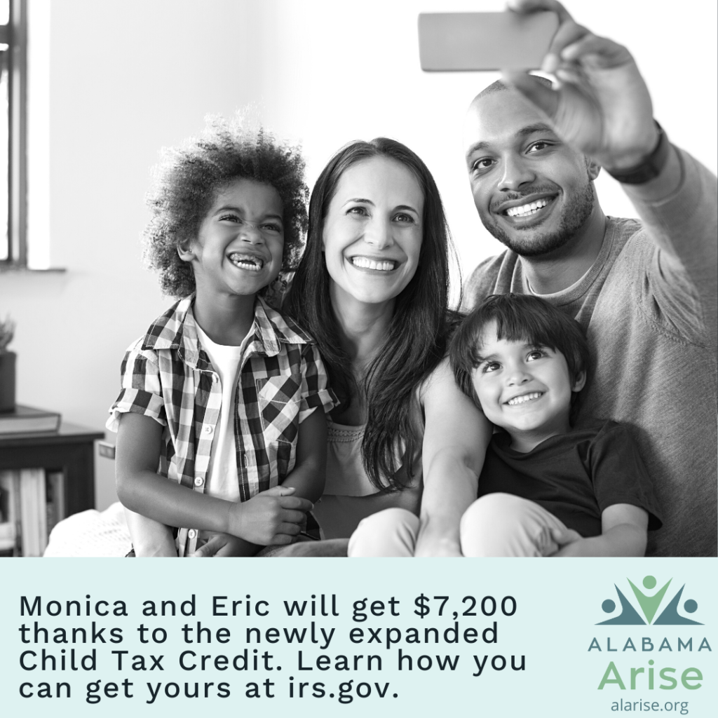 Image: Parents and their two young children smiling while taking a selfie. Text: Monica and Eric will get $7,200 thanks to the newly expanded Child Tax Credit. Learn how you can get yours at irs.gov.