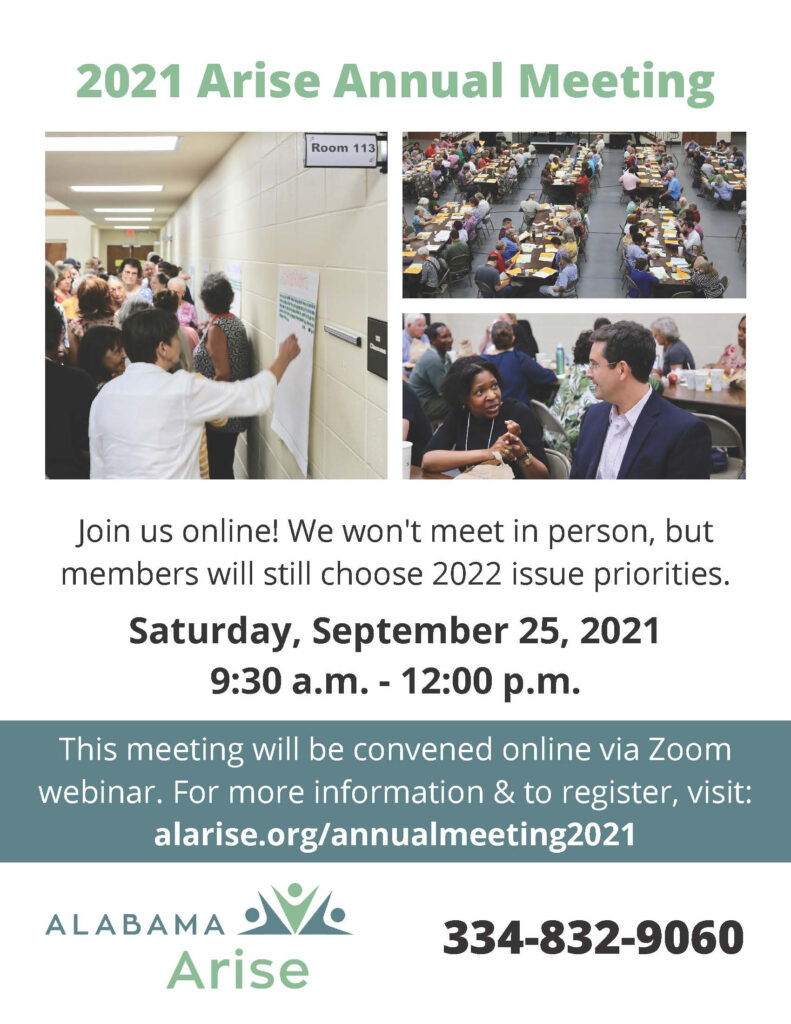 Flyer for Alabama Arise annual meeting
